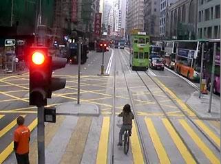出前配達の自転車 - 香港トラム